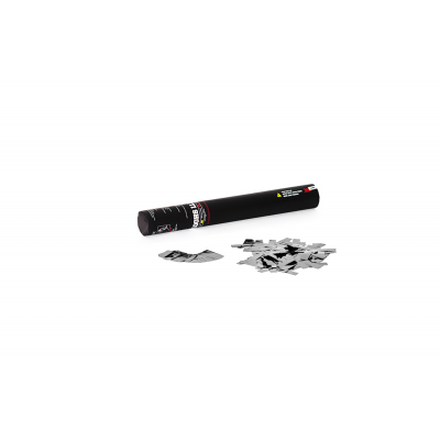 Handheld Confetti Shooter - 28cm - metallic - zilver