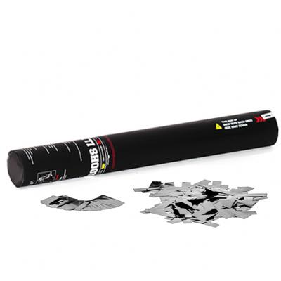 Elektrische Confetti Shooter - 40cm - metallic - zilver